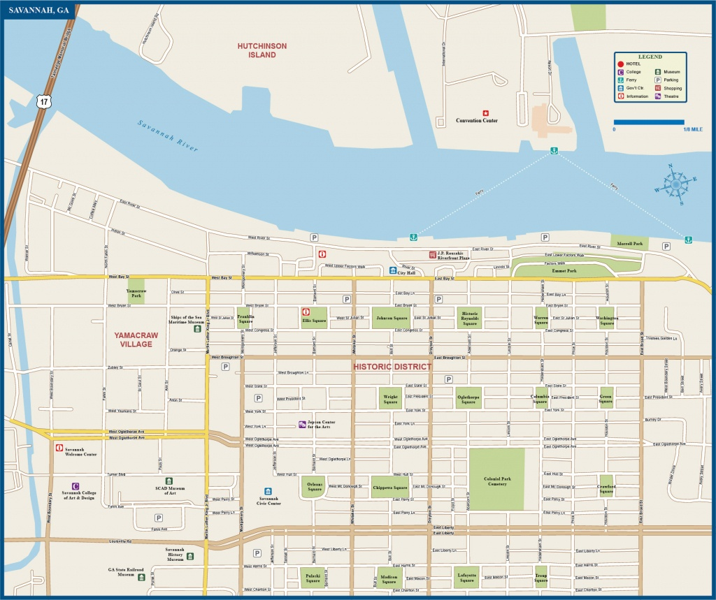 Savannah Downtown Map | Digital Vector | Creative Force - Printable Map Of Savannah