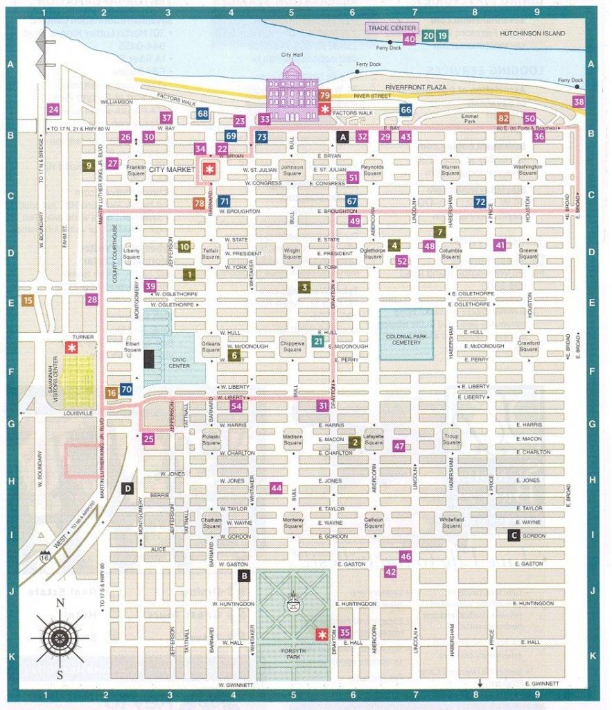 Savannah Ga Downtown Historic District Map - Savannah Georgia - Printable Map Of Savannah Ga Historic District