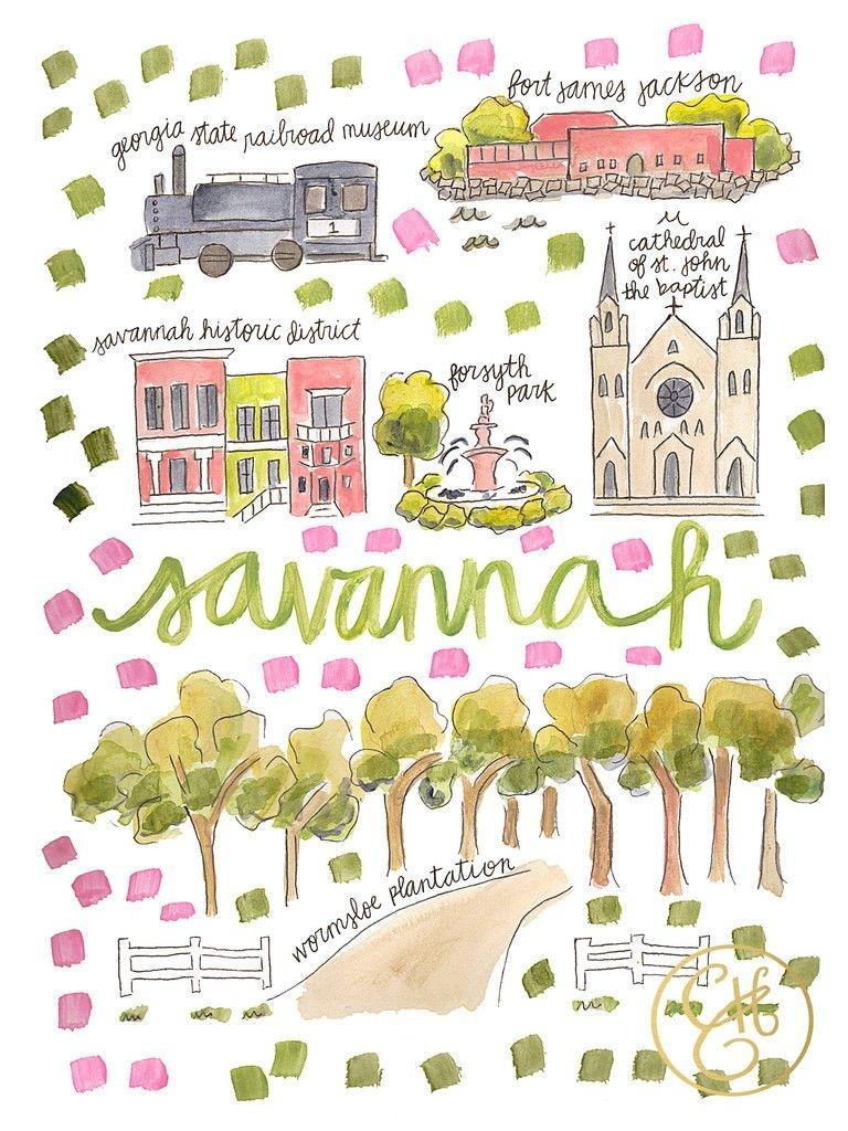 Savannah Map Print – Evelyn Henson Www.evelynhenson | Evelyn - Printable Map Of Savannah Ga