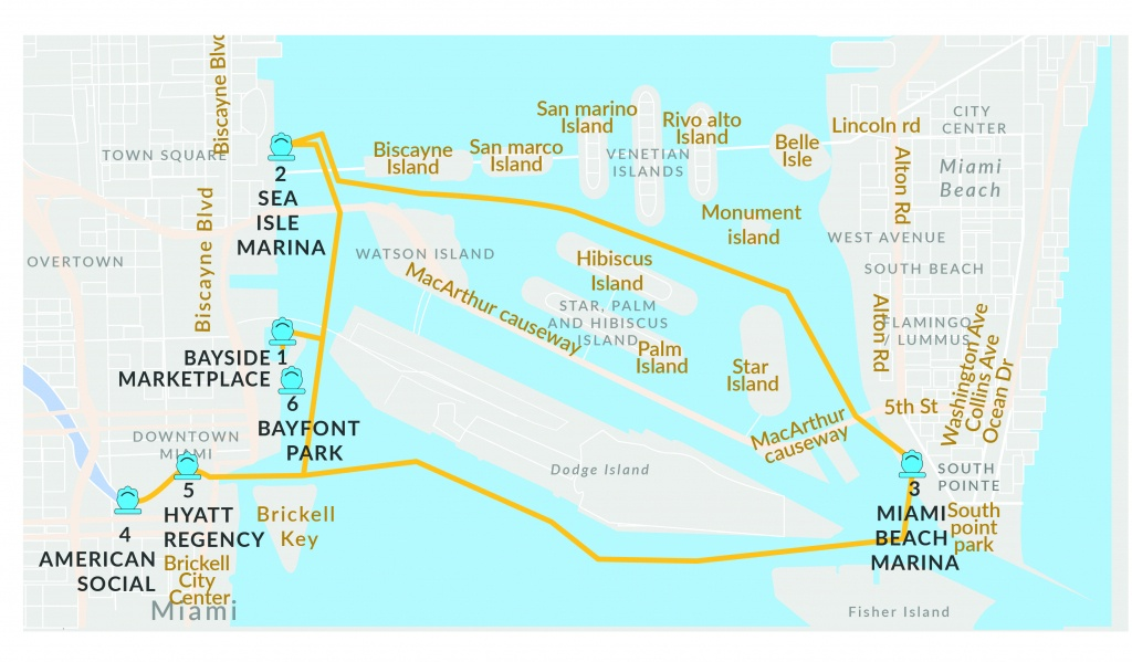 Schedule Rates For Water Taxi Miami | Miami Beach Water Taxi Schedule - Sunny Isles Beach Florida Map