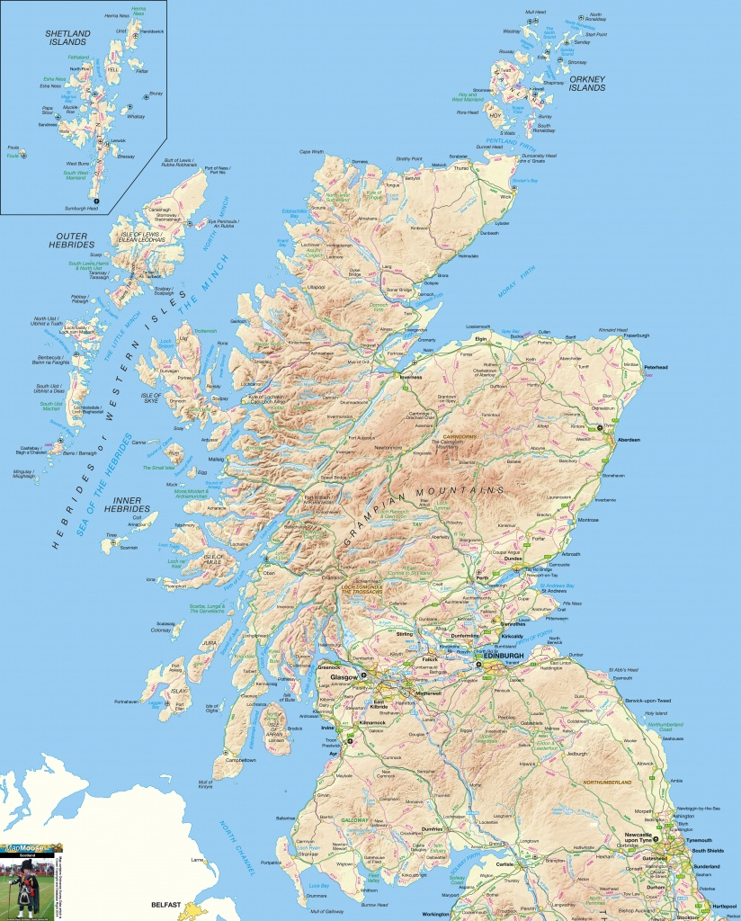 Scotland Offline Map, Including Scottish Highlands, Galloway, Isle - Printable Map Of Scotland