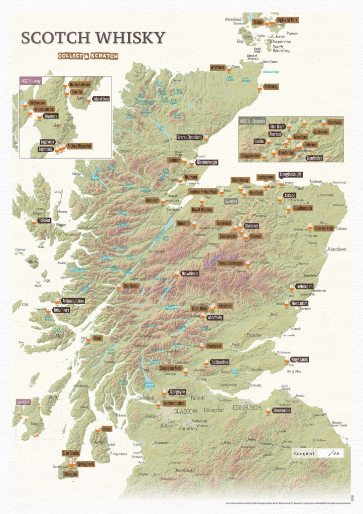 Scratch Off Scotland Whisky Distilleries Print - Printable Map Of Scotland