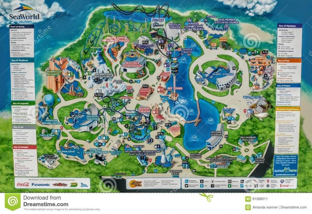 Sea World Map 2017 Editorial Photo. Image Of Dolphins - 91088011 - Seaworld Map Orlando Florida