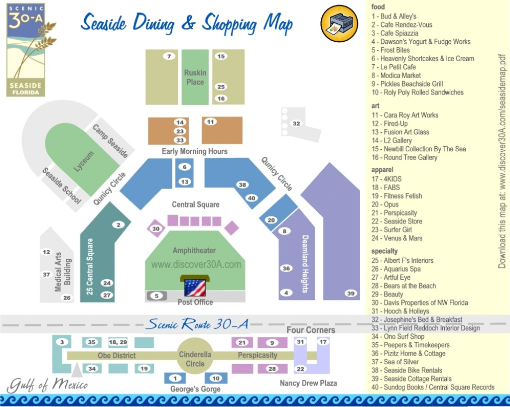 Seaside Dining And Shopping Map | Discover 30A Florida - Where Is Seaside Florida On The Map