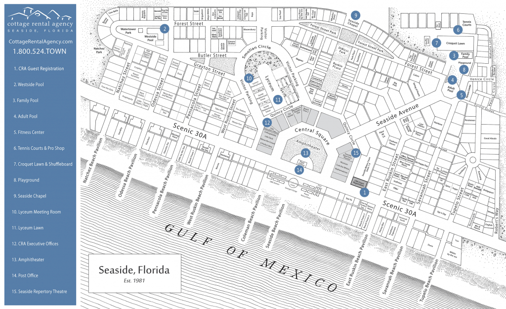 Seaside Florida Map - Click Properties On Map To View Details | Maps - 30A Florida Map