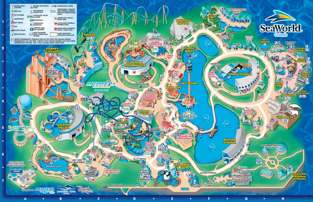 Seaworld Orlando Theme Park Map - Orlando Fl • Mappery | Aquariums - Orlando Florida Parks Map