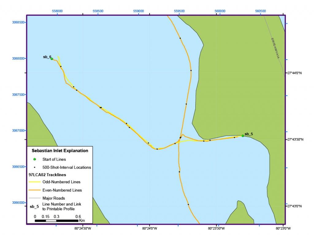 Sebastian Inlet Map - Archive Of Digital Boomer Sub-Bottom Data - Sebastian Florida Map