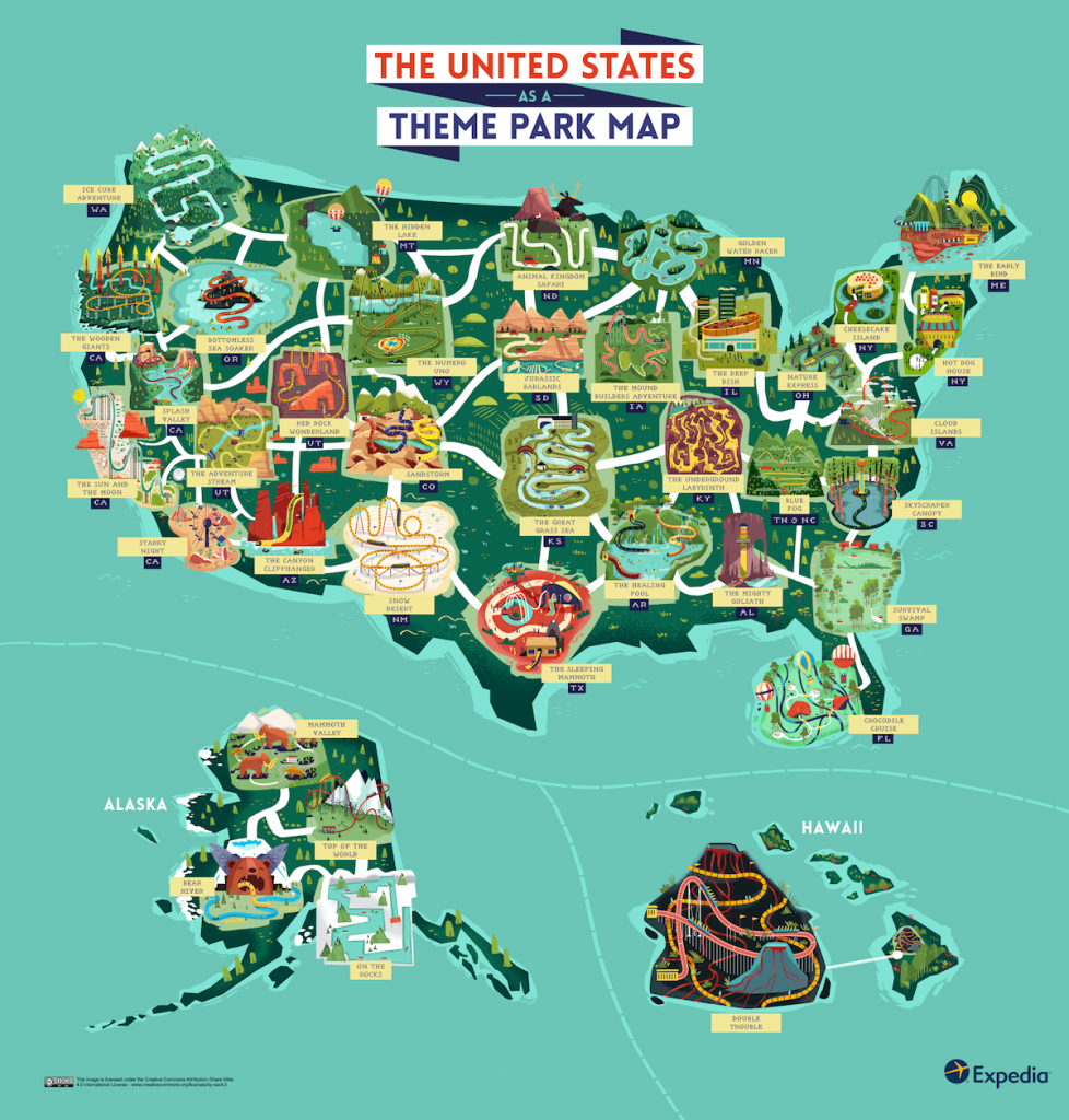 See The Usa As An Outdoor Theme Park With This Colourful Map - Amusement Parks California Map