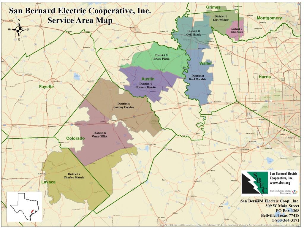 Service Territory Map | San Bernard Electric Cooperative - Texas Electric Cooperatives Map