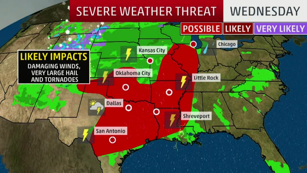 Severe Storms, Flooding In The Forecast Today For Texas, Southern - Texas Forecast Map
