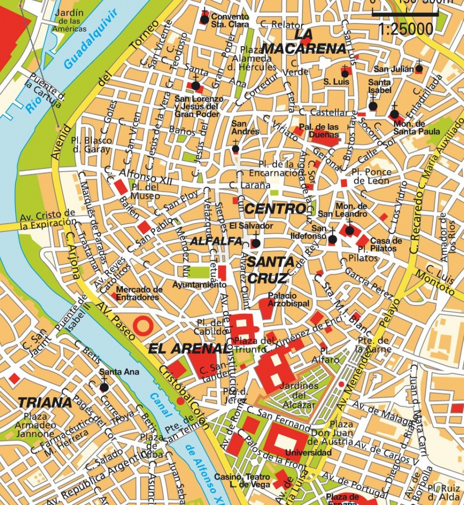 Sevilla Spain Map And Travel Information | Download Free Sevilla - Printable Tourist Map Of Seville