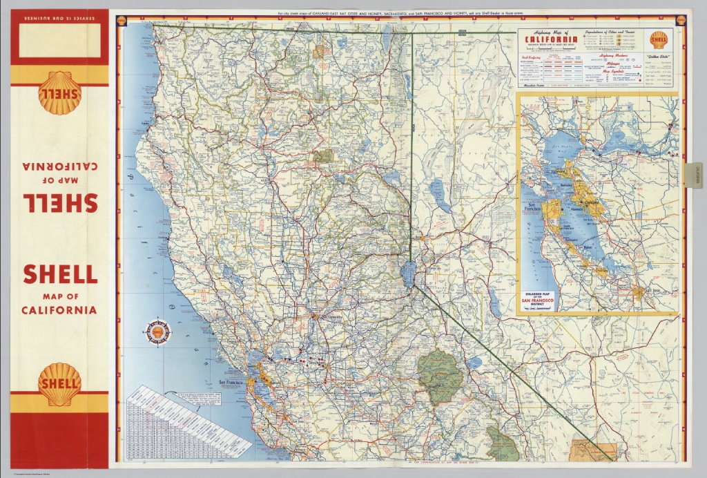 Shell Highway Map Of California (Northern Portion). - David Rumsey - Detailed Map Of Northern California