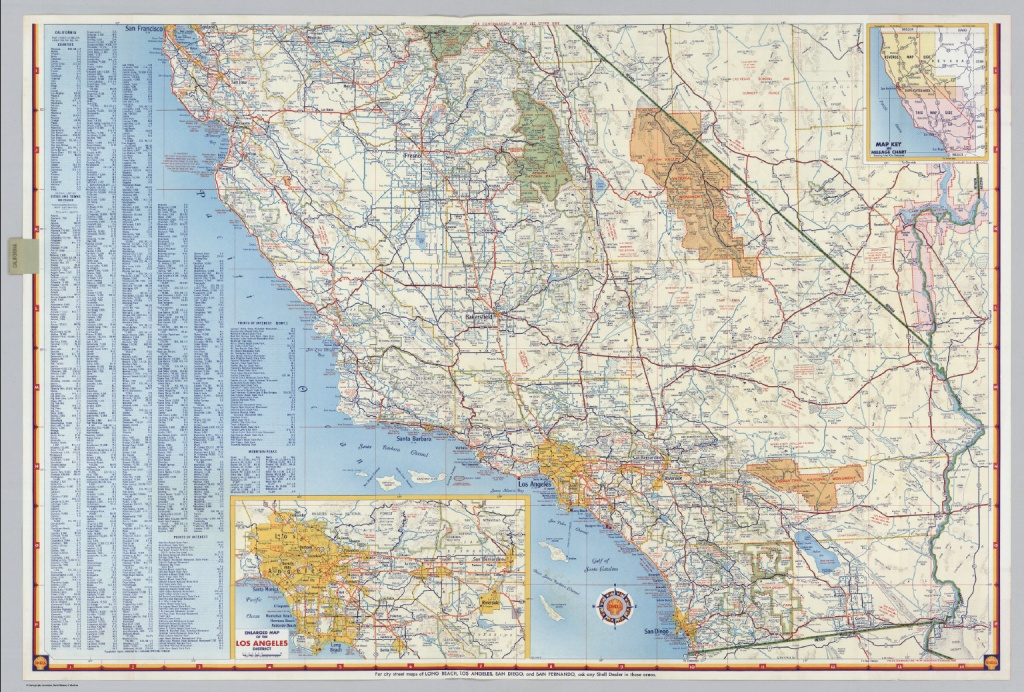 Shell Highway Map Of California (Southern Portion). - David Rumsey - Printable Map Of Southern California Freeways