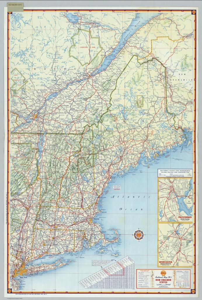 Shell Sectional Map No. 1 - New England States. - David Rumsey - Printable Map Of New England
