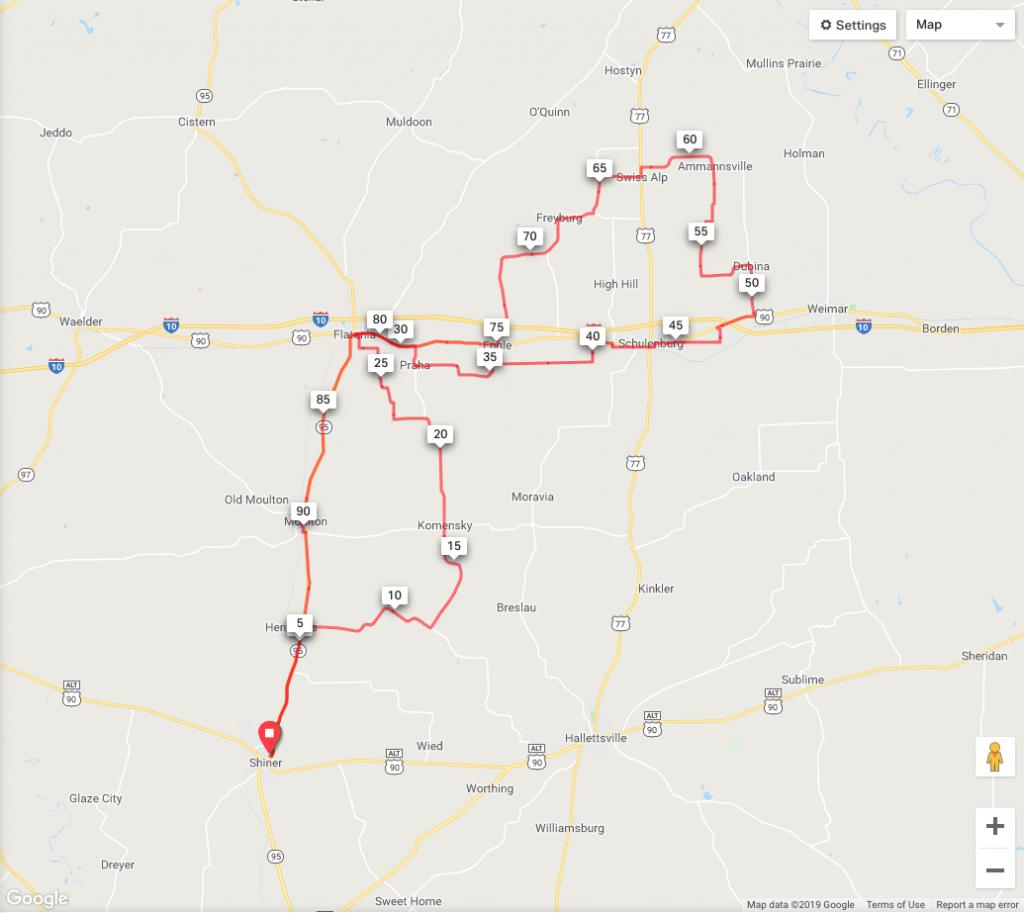 Shiner Gasp - Shiner Texas Map