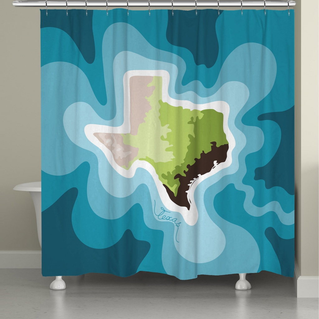 Shop Laural Home Texas Topographic Abstract Map Shower Curtain 71X74 - Texas Map Shower Curtain
