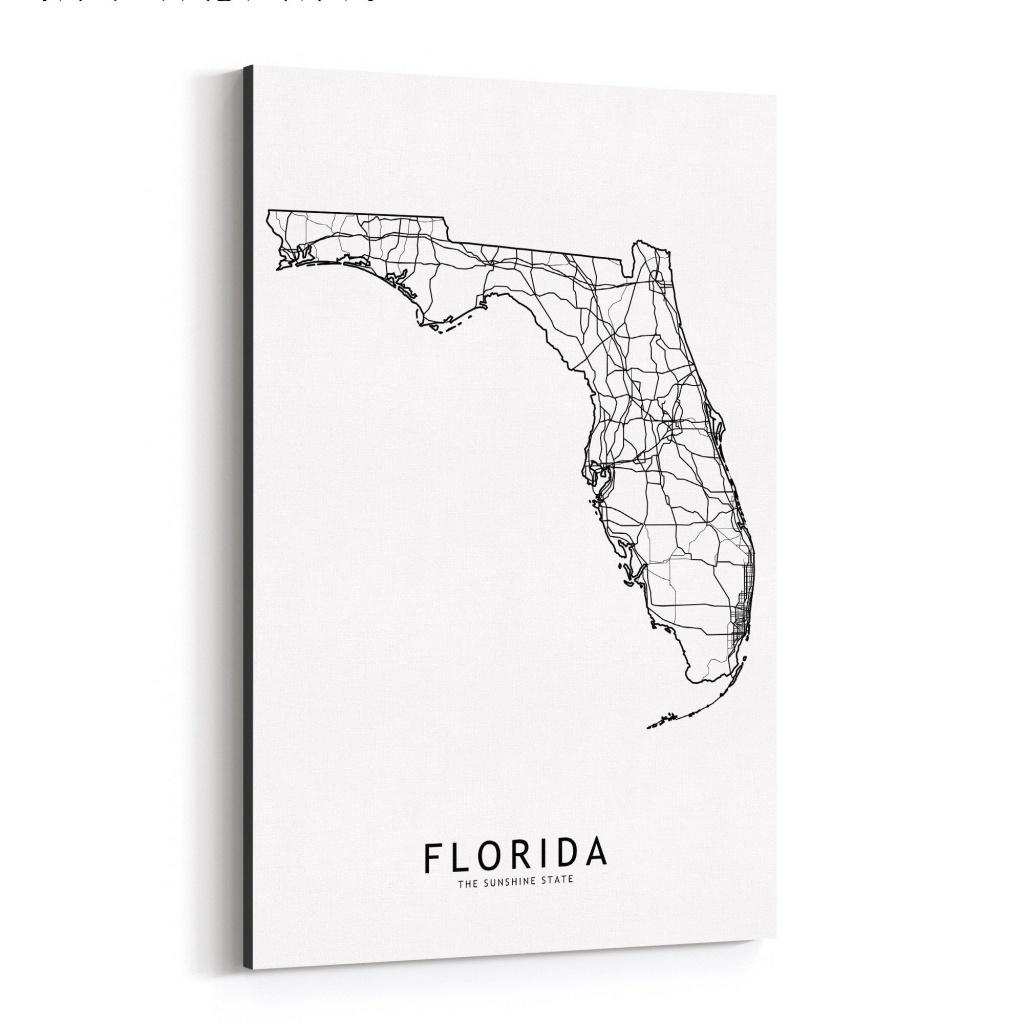 Shop Noir Gallery Florida Black & White State Map Canvas Wall Art - Map Of Florida Art