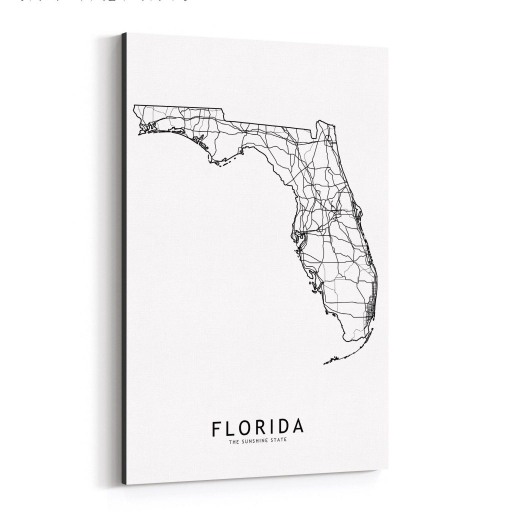 Shop Noir Gallery Florida Black & White State Map Canvas Wall Art - Map Of Florida Wall Art