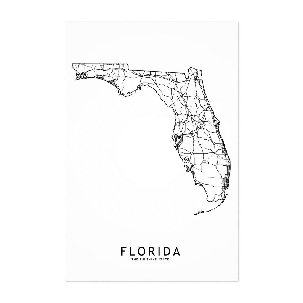 Shop Noir Gallery Florida Black & White State Map Unframed Art Print - Florida Map Art