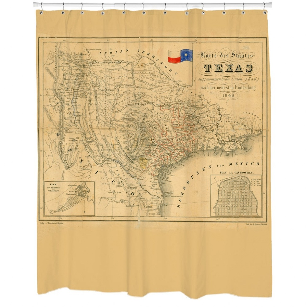 Shop Texas 1849 Map Shower Curtain - Beige - Free Shipping Today - Texas Map Shower Curtain