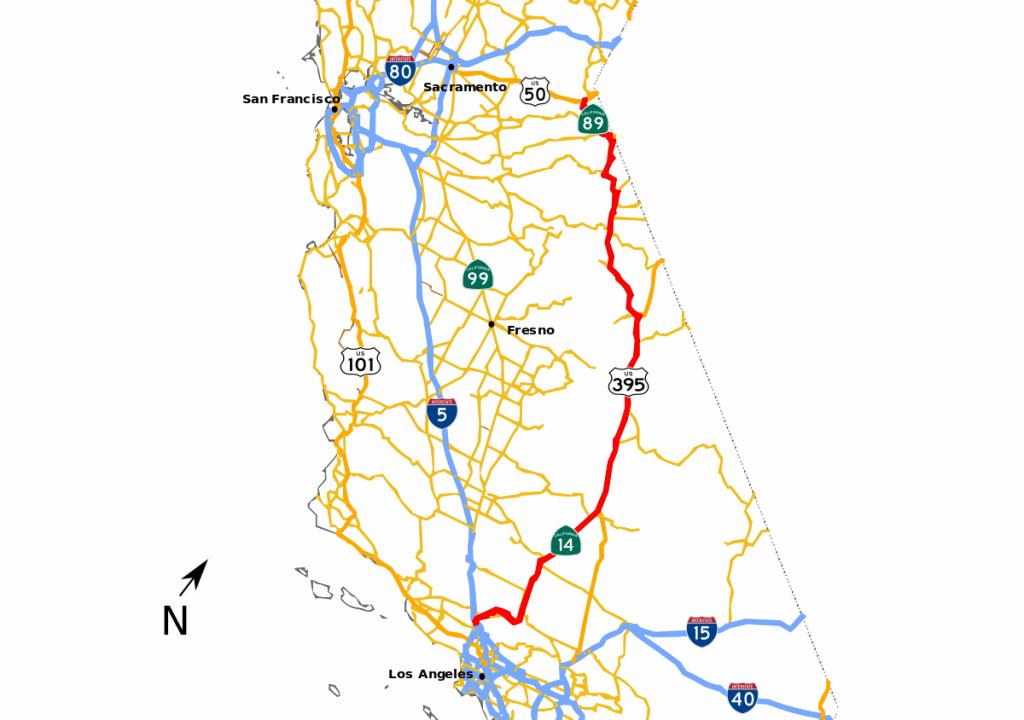 Sierra Highway - Wikipedia - Route 395 California Map