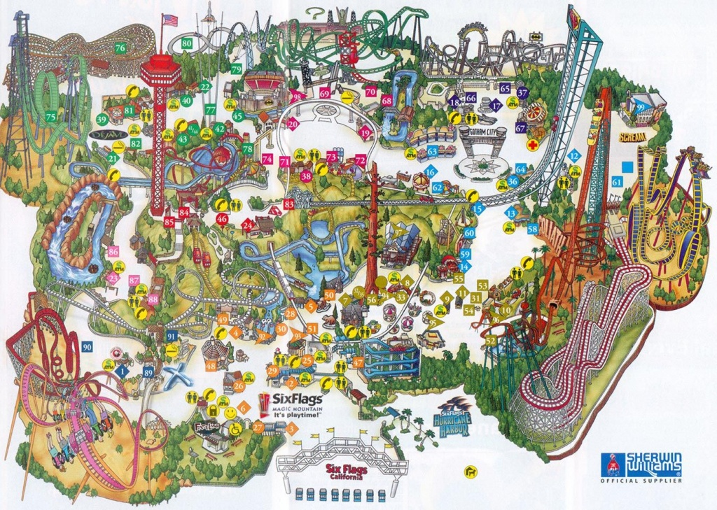 Six Flags Magic Mountain Map. | Assorted Ii In 2019 | Theme Park Map - Amusement Parks California Map