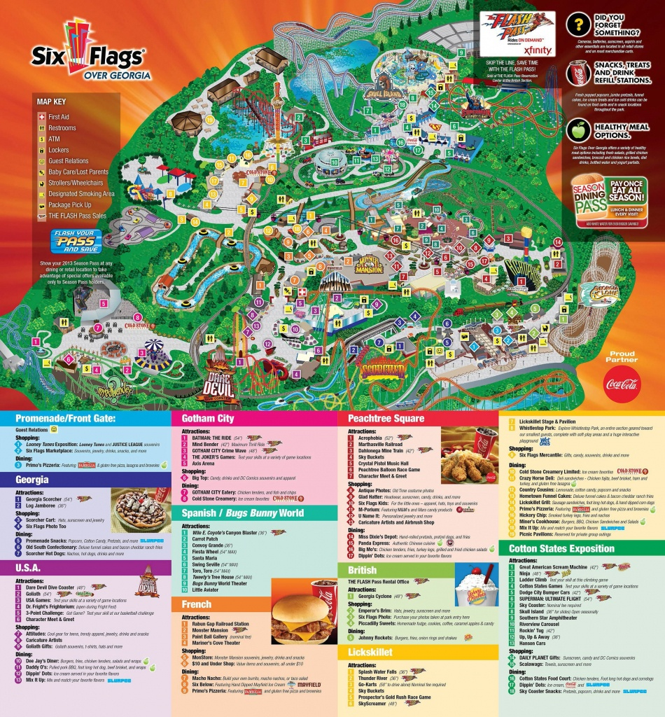 Six Flags Over Georgia | Favorite Places In 2019 | Theme Park Map - Printable Six Flags Over Georgia Map