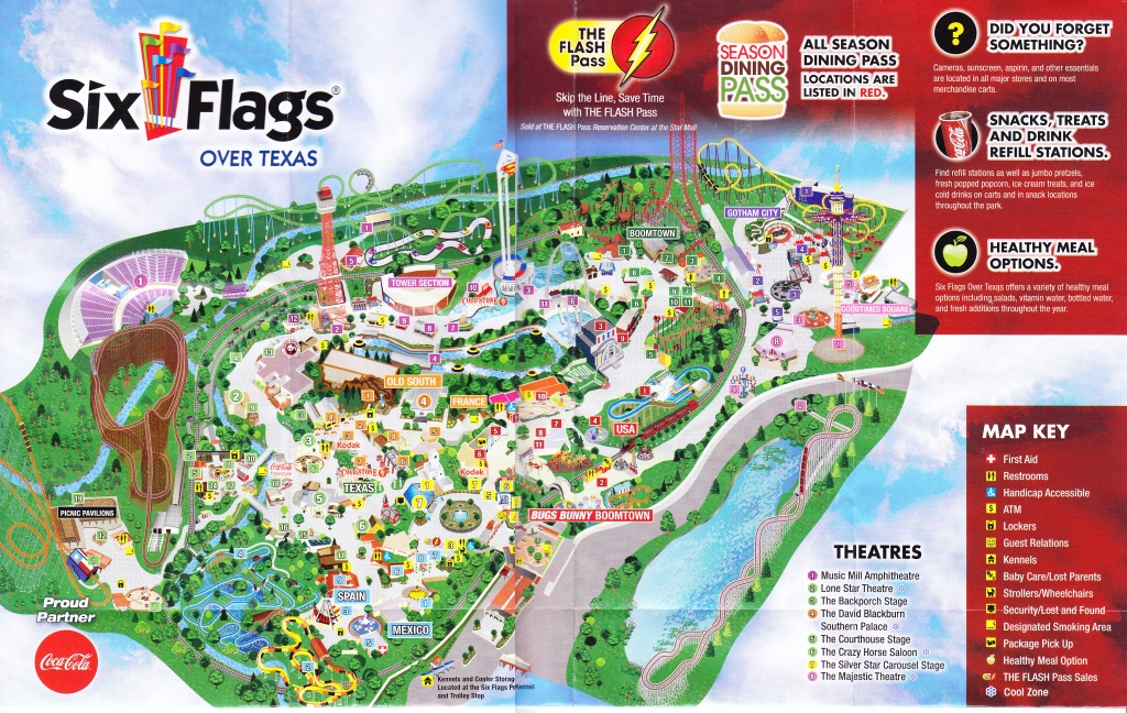 Six Flags Over Texas - 2015 Park Map - Six Flags Over Texas Map