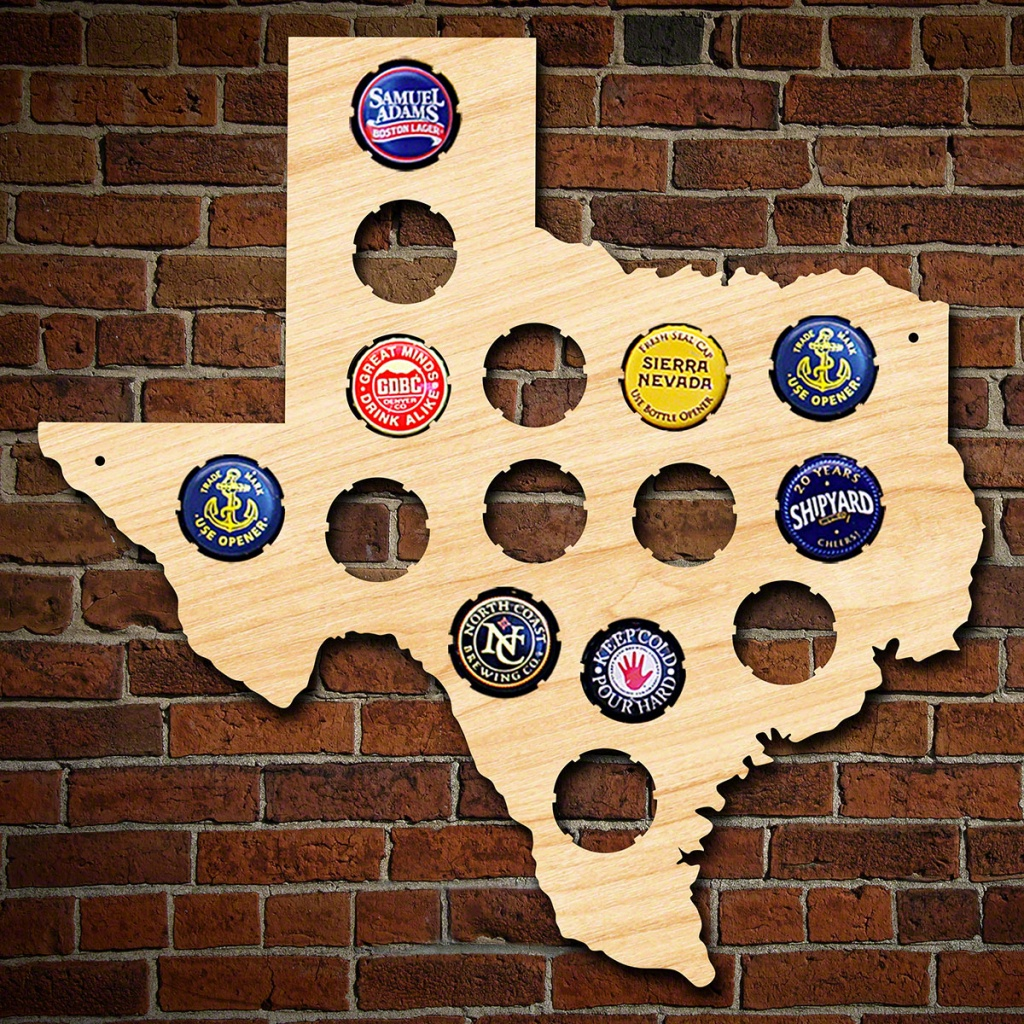 Small Texas Bottle Cap Holder - Texas Beer Cap Map