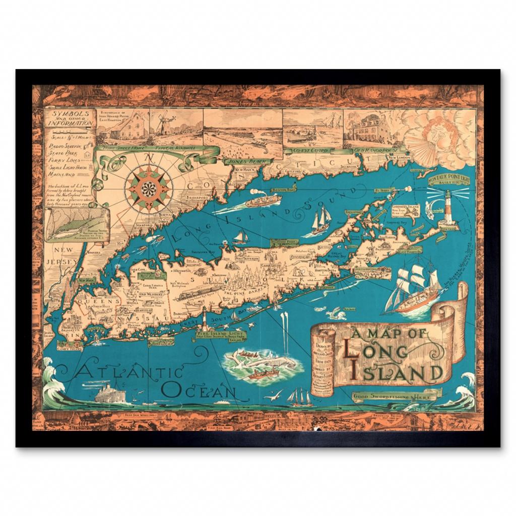 Smith 1933 Pictorial Map Long Island Ny History Wall Art Print - Printable Map Of Long Island Ny