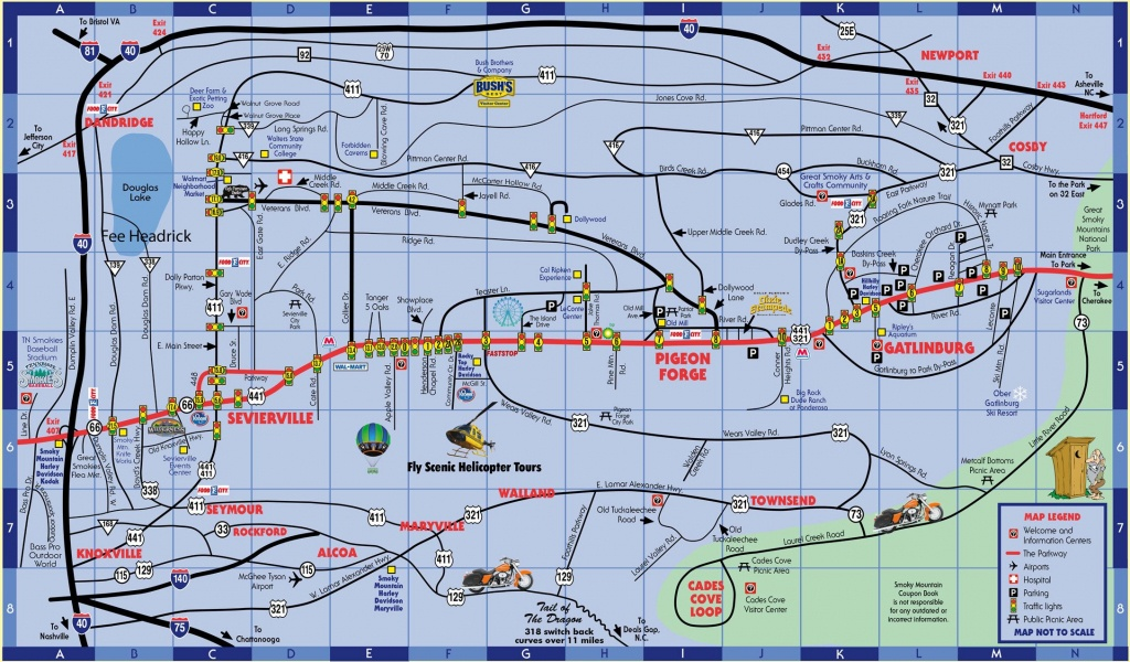 Smokymountaincouponbook Pigeon-Forge-Gatlinburg-Map | Pa Trip In - Printable Map Of Pigeon Forge Tn