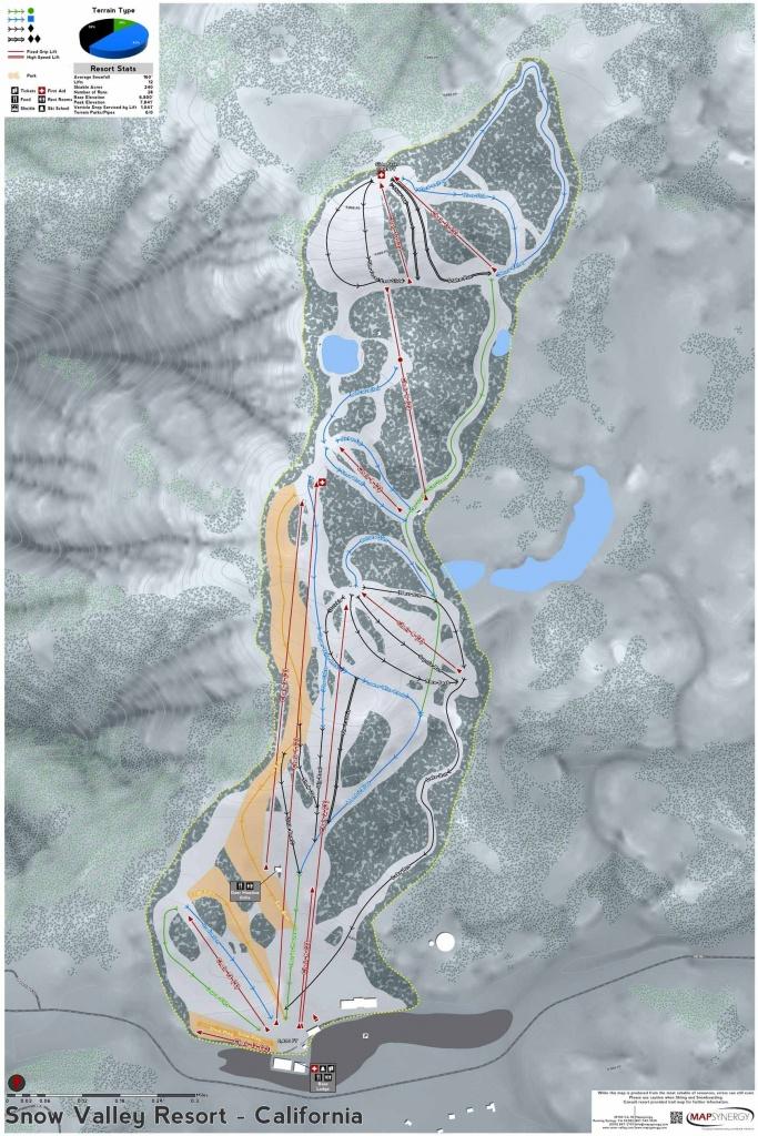 Snow Valley Resort Ski Map   California Ski Resort Maps In 2019 - California Ski Resorts Map