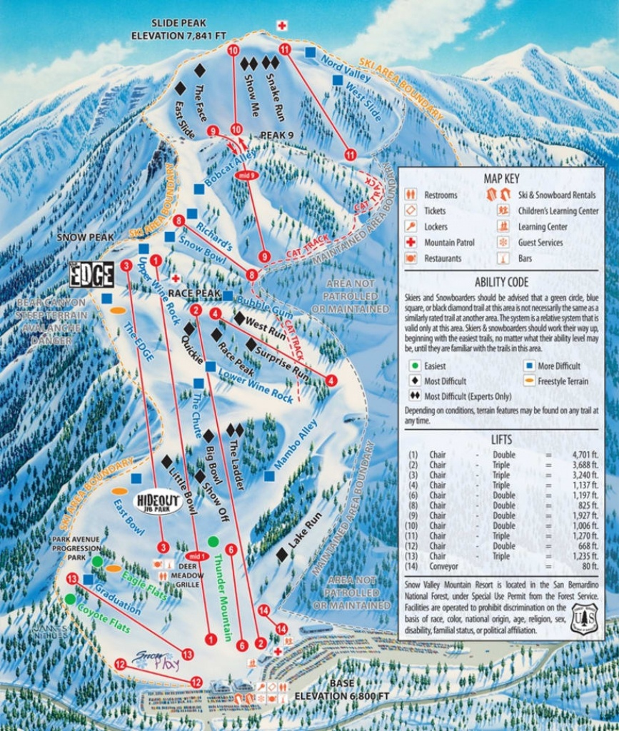 Snow Valley Trail Map | Liftopia - California Snow Map