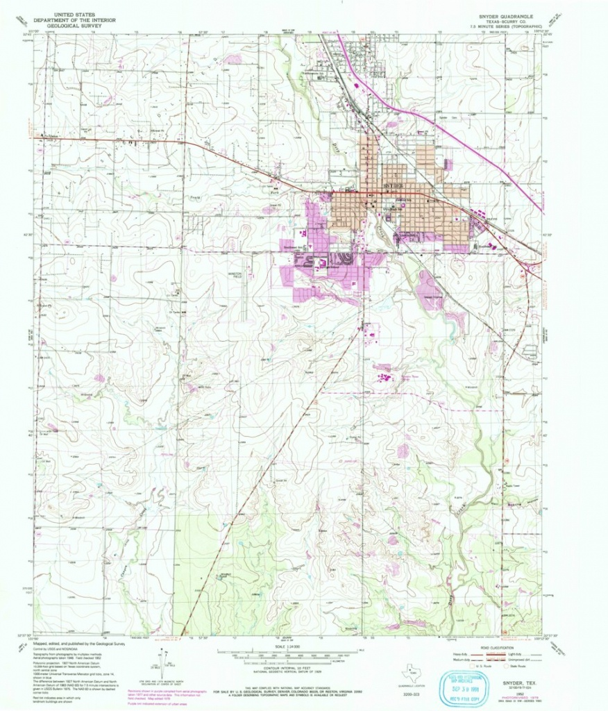 Snyder, Tx Historical Map Geopdf 7.5X7.5 Grid 24000-Scale 1952 - Snyder Texas Map