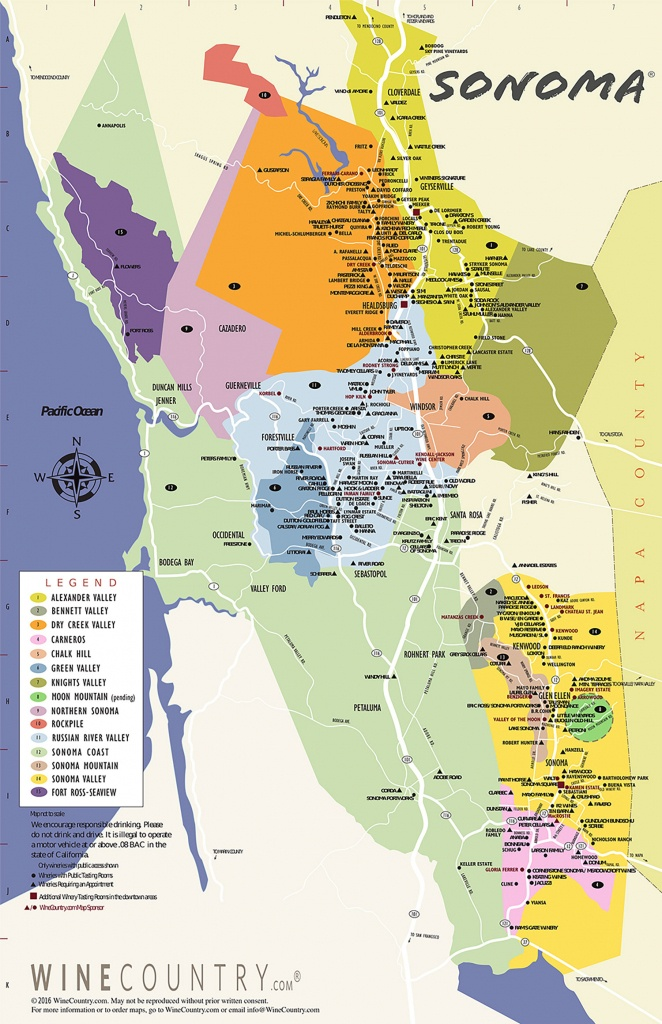 Sonoma County Wine Country Maps - Sonoma - Napa Winery Map Printable