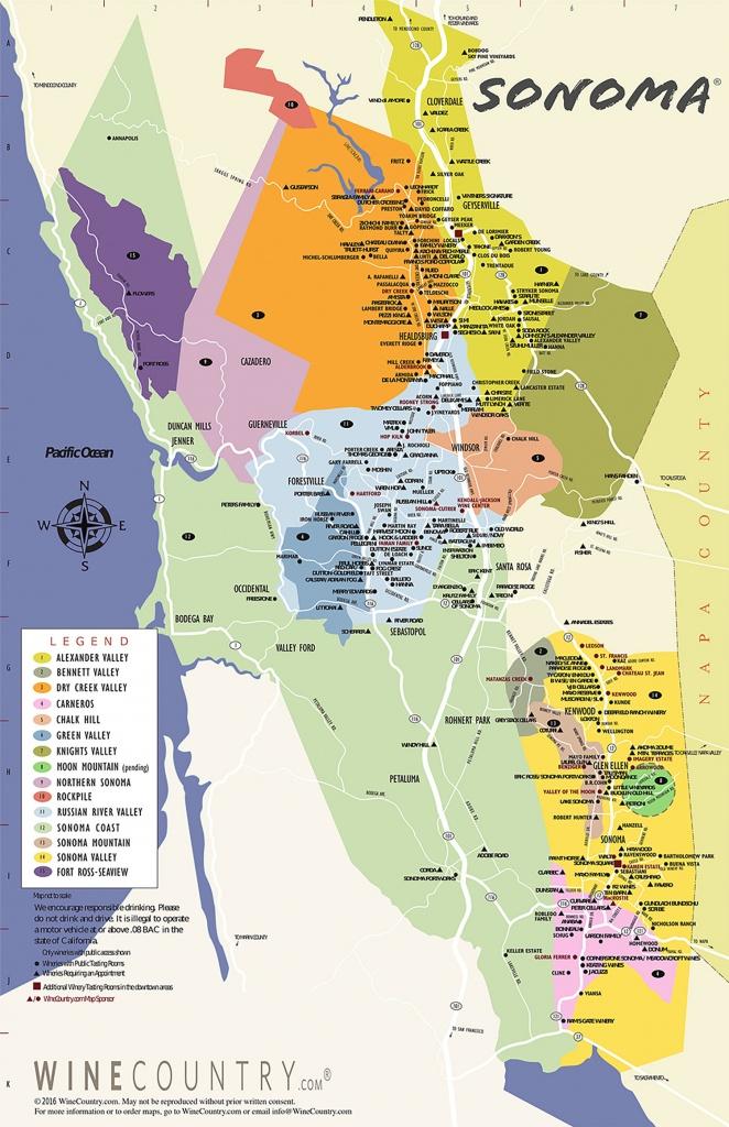 Sonoma County Wine Country Maps - Sonoma - Wine Tasting California Map