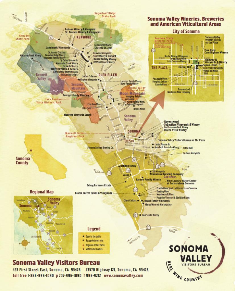 Sonoma Valley Wine Map - Best In Sonoma - Wine Tasting California Map