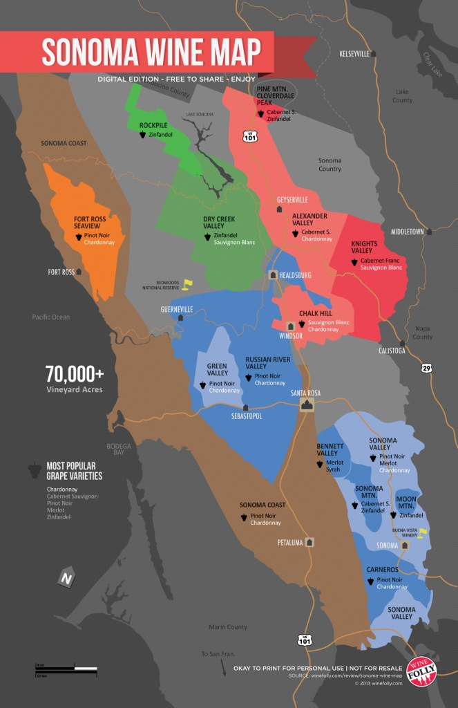 Sonoma Wine Map (Poster)   Wine Folly - California Wine Tours Map