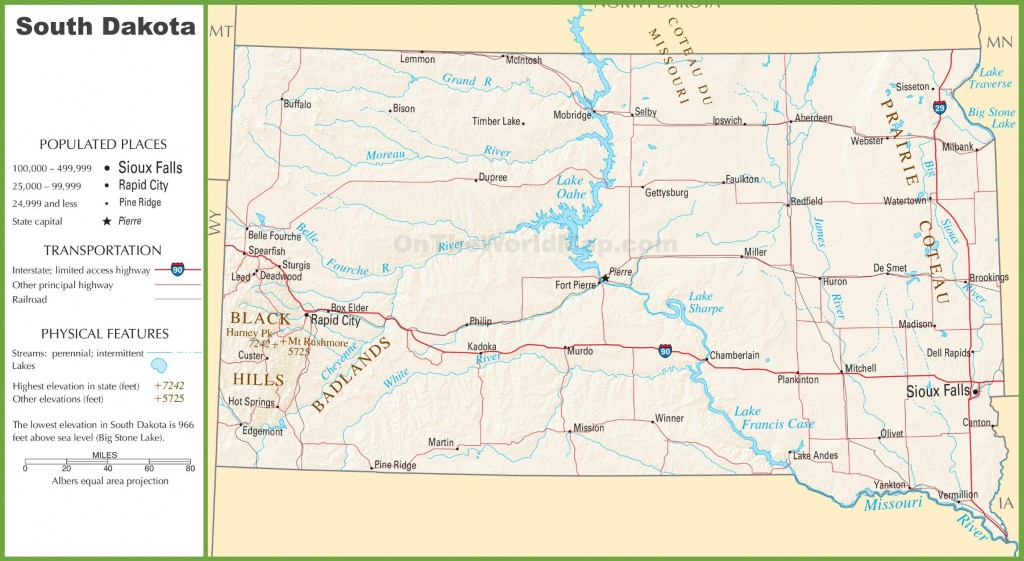 South Dakota Highway Map - Printable Map Of South Dakota