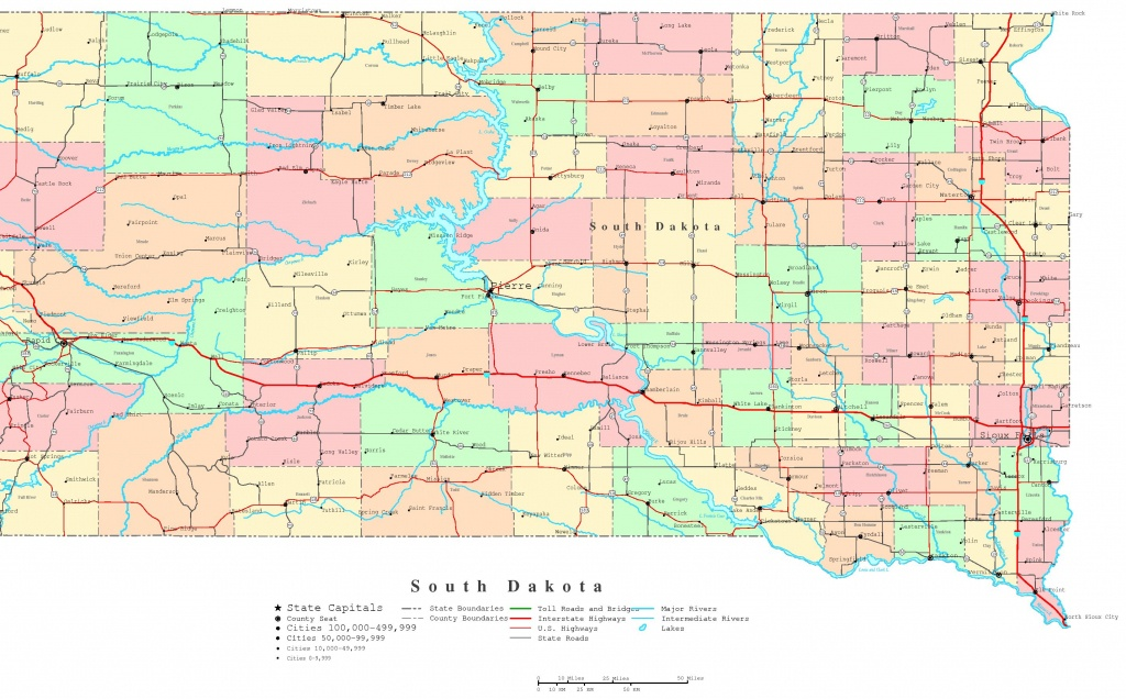 South Dakota Printable Map - Printable Map Of South Dakota