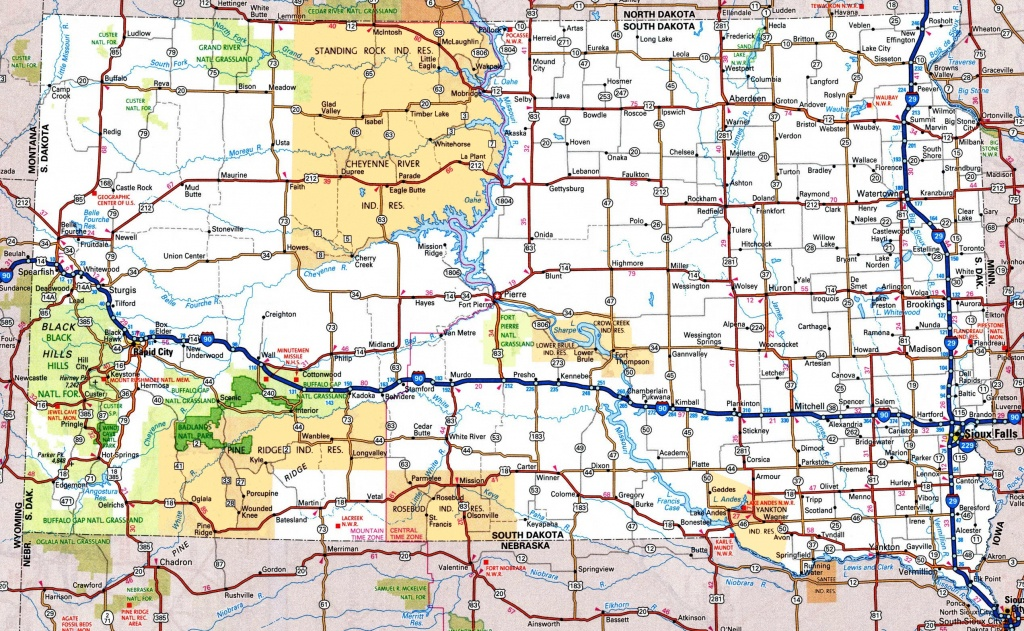 South Dakota Road Map - Printable Map Of South Dakota