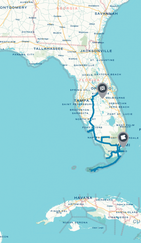 South Florida National Park Road Trip On | Florida | Florida - South Florida National Parks Map