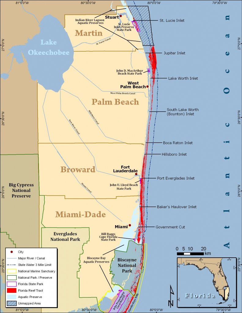 South Florida Reef Tract Map - Gold Coast Scuba Divers (954) 616 - Florida Dive Sites Map