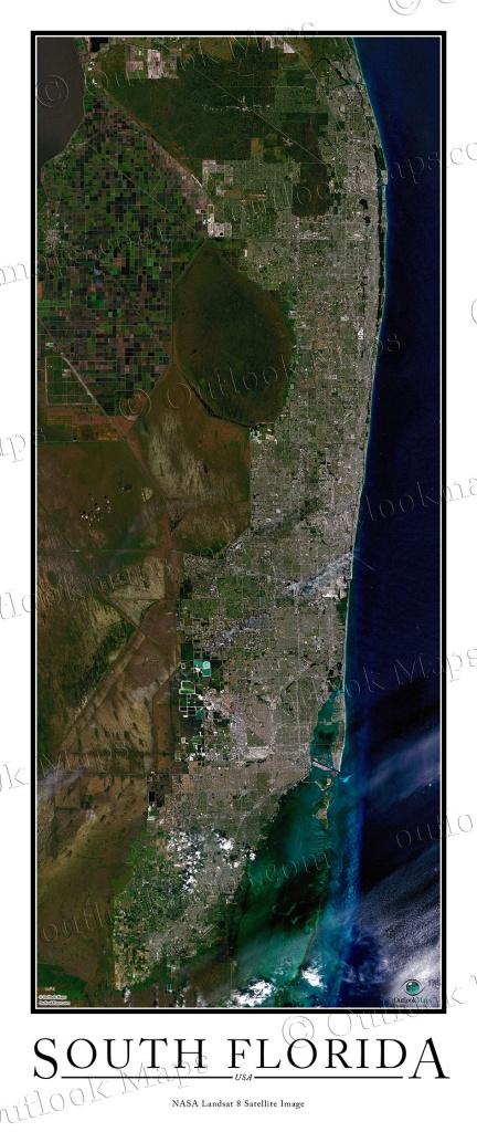 South Florida Satellite Map Print   Aerial Image Poster - Satellite Map Of Florida
