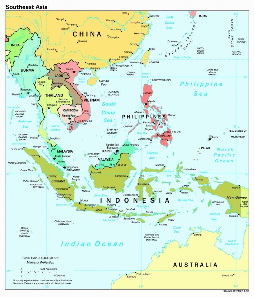 Southeast Asia Map Political South Capitals Scale With 1997 Random 8 - Melaka Tourist Map Printable