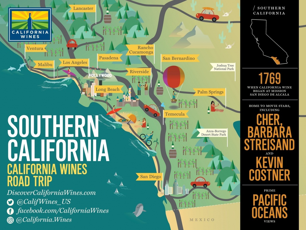 Southern California Map With Attractions – Map Of Usa District - California Attractions Map