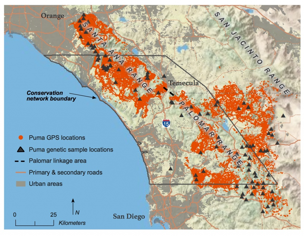 Southern California Mountain Lions' Genetic Connectivity Dangerously - Winston California Map