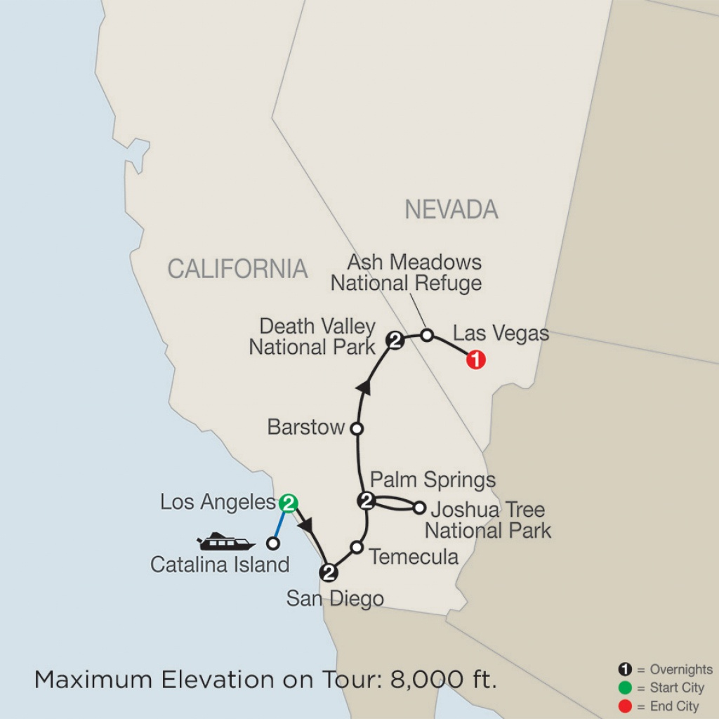 Southern California Tour With Death Valley & Joshua Tree National - National Parks In Southern California Map