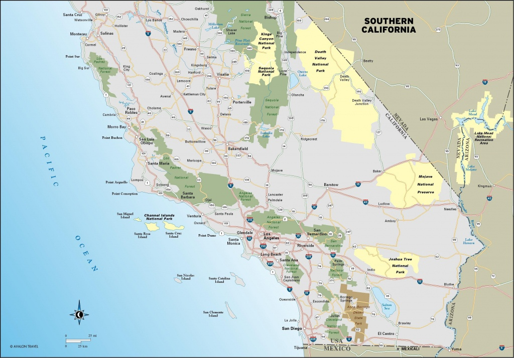 Southern California's Main Road, The Interstate 5 And Route 58 - Printable Map Of California Coast