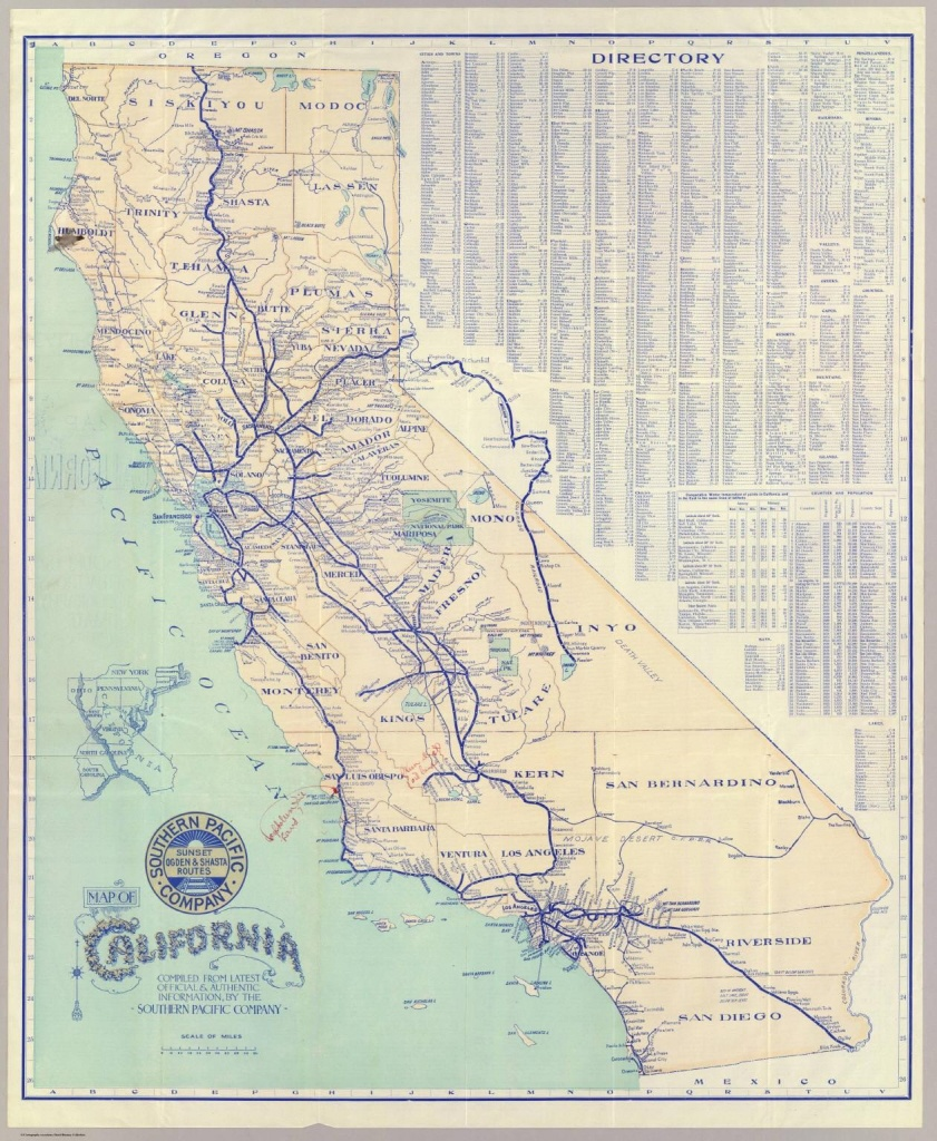 Southern Pacific Company Map Of California And It's Old Railroad - California Railroad Map